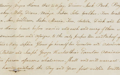 Slavery in the Bahamas.- 2 indentures concerning the sale of land, property and slaves in the Bahamas to Charles Poitier and Joseph George Hunter, Ds.s., manuscripts on paper, red wax seals, 1811.