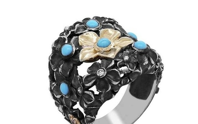 Stambolian Aged Silver and 18K Gold Flower Ring with