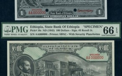 State Bank of Ethiopia, a group of specimens from the 1945 issue, (Pick 12s2, 16s, 17s2, TBB B2...