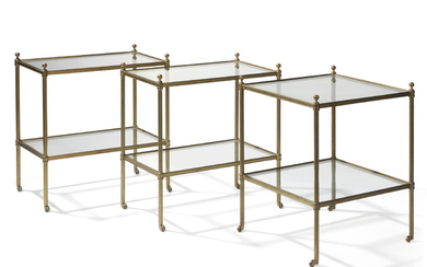 THREE BRASS-MOUNTED GLASS TWO-TIER ETAGERES, BY VAUGHAN, LATE 20TH CENTURY