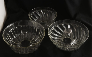 THREE GLASS JELLY OR TERRINE MOULDS, LEONARD JOEL LOCAL DELIVERY SIZE: SMALL