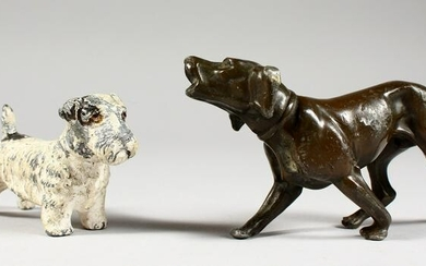 TWO CAST METAL MODELS OF DOGS. 3ins and 4ins long.