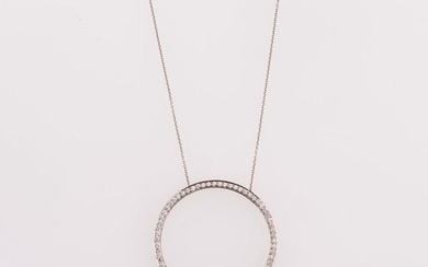 Tiffany & Co. Round pendant necklace, 1990s, 950 platinum, diamonds....