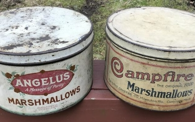 Two Antique Tin Canisters for Marshmallows