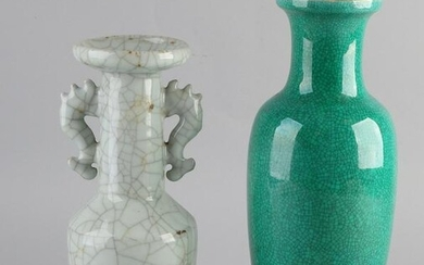 Two large Chinese porcelain vases with celadon crackle