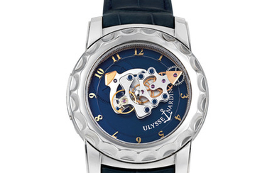Ulysse Nardin. A Fine White Gold Carrousel Tourbillon Wristwatch with Dual Direct Escapement