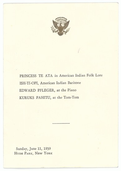 United States of America 1939 Royal Visit 1939 (11 June) printed programme with the Seal of the...