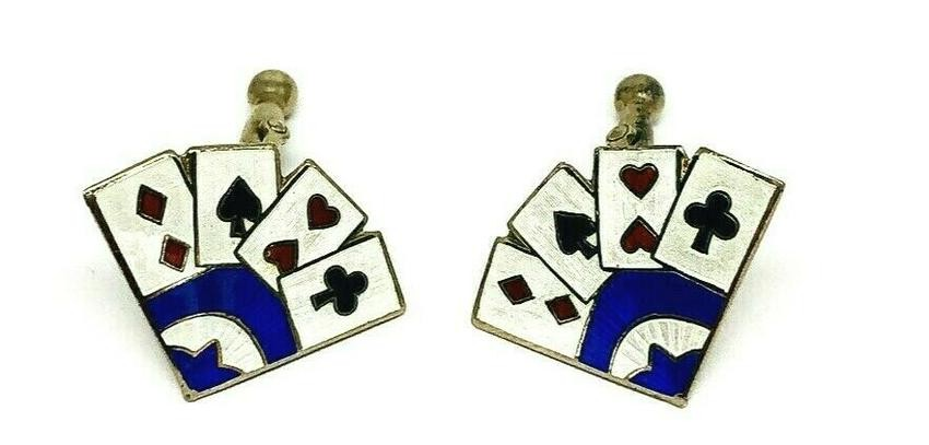 VINTAGE Sterling Silver Enamel Playing Cards Cufflinks