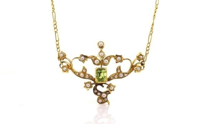 Victorian 15ct yellow gold pendant set with step cut peridot...