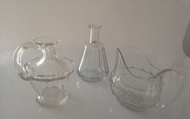 Victorian Glassware. Comprising two water jugs and a flask. ...