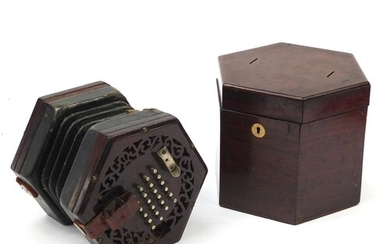Victorian rosewood 49 button concertina with rosewood case