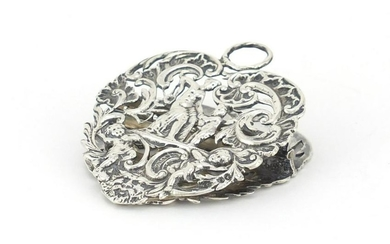 Victorian silver letter clip by William Comyns, pierced