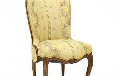 Vintage French Upholstered Walnut Slipper Chair