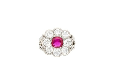 White Gold, Platinum, Ruby and Diamond Ring