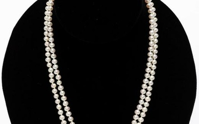 White Gold & Diamond Floral Accent Pearl Necklace