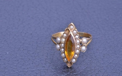 Yellow Gold Navette Style Ring with Seed Pearls