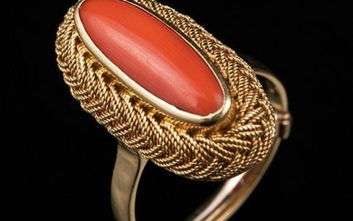 Yellow Gold and Coral Cabochon Ring