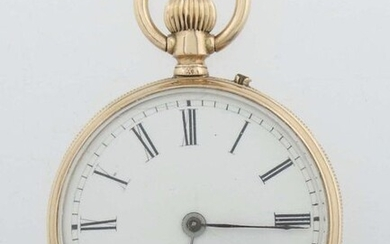 lady's pocket watch Geneva, early 20th century, red gold 585, white enamel dial with roman numerals, inner lid metal/gold-plated, inscribed ''No. 87042, Geneve, Remontoir 10 rubis'', outer lid guilloched around the coat of arms, with carat hallmark...