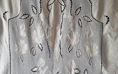 100% linen curtain with hand carving embroidery and Rhodes stitch - 205 x 300 cm - Linen - 21st century