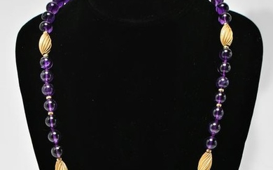 14K Gold Oblong Beads & Amethyst Beads Necklace