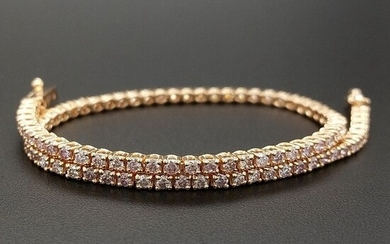 1.50ct Natural Fancy Mix Pink Diamonds - 14 kt. Pink gold - Bracelet - ***No Reserve Price***