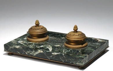 FRENCH DORE BRONZE & MARBLE DOUBLE INK STAND