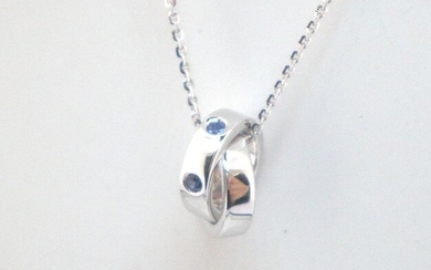 18 kt. White gold - Necklace - 0.09 ct Sapphire