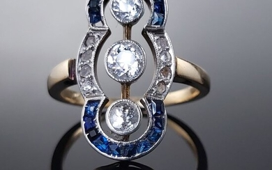 18 kt. White gold, Yellow gold - Ring Diamond - Sapphires