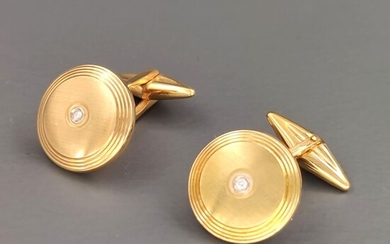 18 kt. Yellow gold - Cufflinks - 0.06 ct Diamond