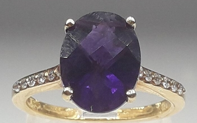 18 kt. Yellow gold - Ring - 4.00 ct Amethyst