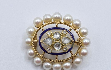 18K Yellow Gold, Diamond, Pearl & Enamel Brooch