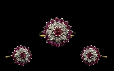 18ct Gold Attractive Ruby and Diamond Set Dress Ring, Flower...
