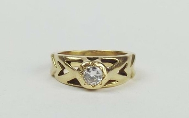 18ct Yellow Gold 0.25CTW Diamond Ring UK Size N US 6 ½