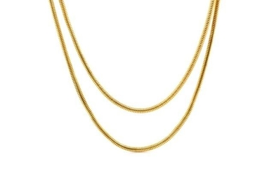 "18ct yellow gold ""snake"" chain necklace marked 750 Italy. Ap..."