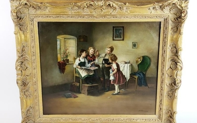 19th C. Jan Walraven (1827-1874) Oil on Canvas of