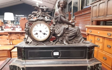 19th Century French Black Slate & Marble Mantle Clock, with a spelter figure of a young woman allegorical of love and summer, signed...