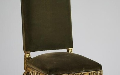 19th c. Louis XIV style giltwood side chair in velvet