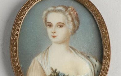 19th century miniature painting.&#160 Lady with