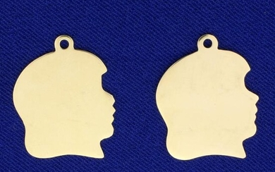 2 Girl Silhouette Pendants or Charms in 14K Yellow Gold