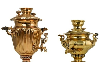 (2 Pc) Russian Brass Samovars