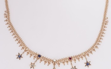 14 kt. Pink gold - Necklace, Antique Bismarck chain with stars, Anno 1900 -Diamond - Pearls, Rubys, Sapphires