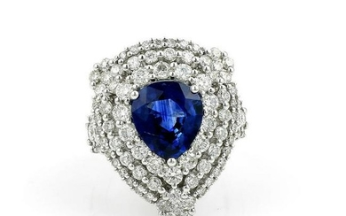 3.65ct Pear Shaped Sapphire and Pave Diamond Ring