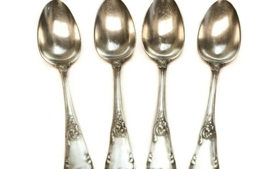 4 Fine Russian 84 Silver Tablespoons late 19th Century