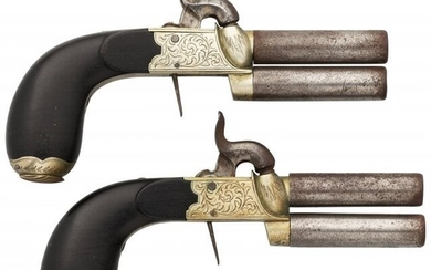 40059: Pair of Engraved Double Barrel Percussion Pistol