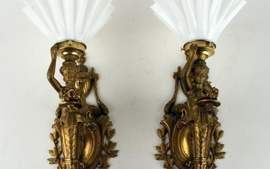 PAIR FIGURAL WALL SCONCES FLUTED MILK GLASS SHADE