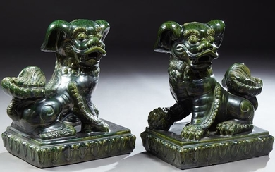 Pair of Large Chinese Green Glazed Terracotta Foo Dogs,