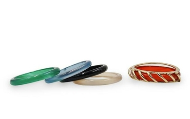 (5 Pc) Colorful Glass Rings