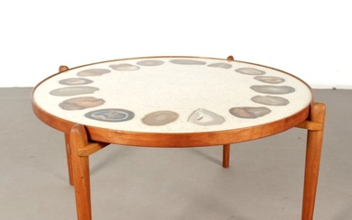 Heinz Lilienthal coffee table, model E8 with agate inlays and signature, 1970