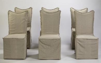 (6) Contemporary side chairs with linen covers