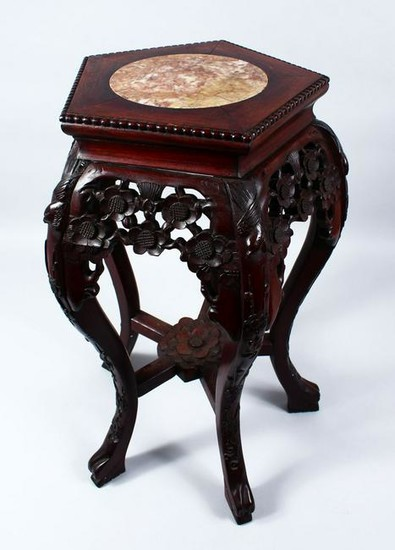 A 19TH CENTURY CHINESE HARDWOOD & MARBLE PLANT STAND